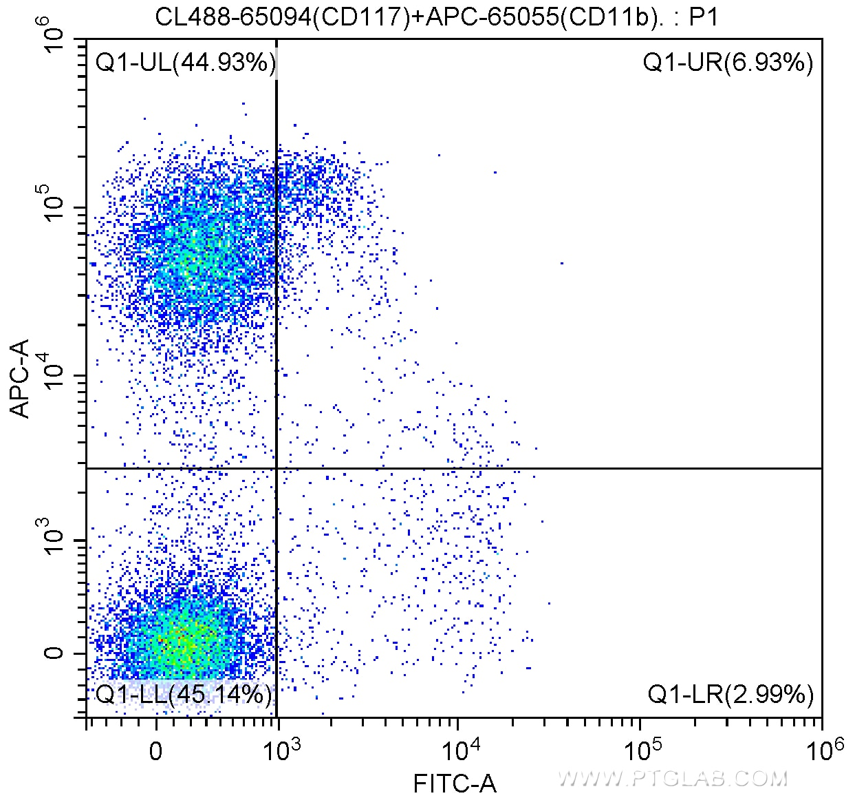 FC experiment of mouse bone marrow cells using CL488-65094