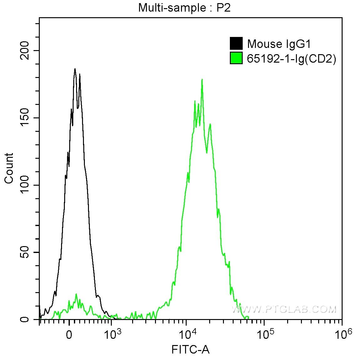 FC experiment of human peripheral blood lymphocytes using 65192-1-Ig