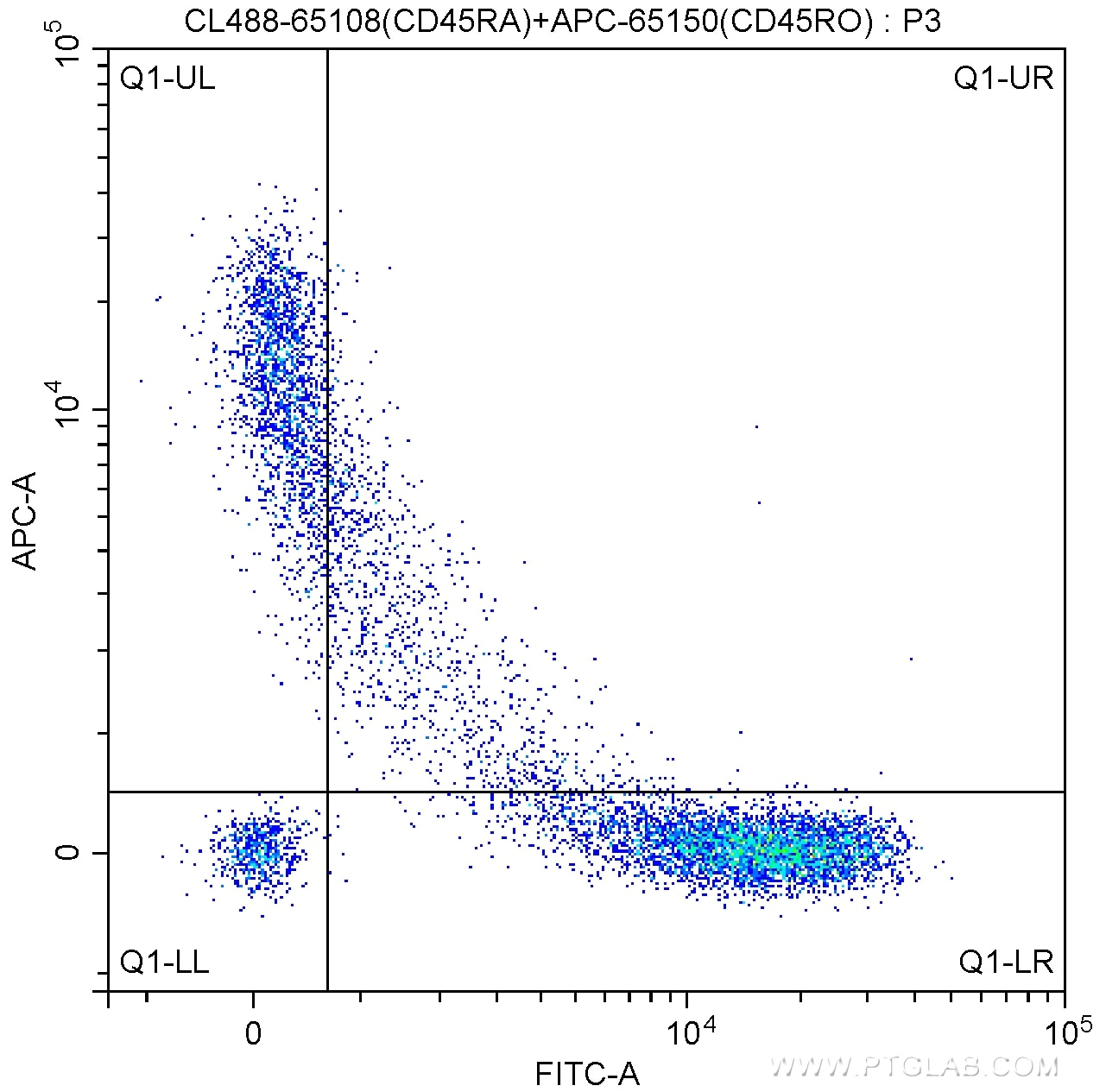 FC experiment of human peripheral blood lymphocytes using CL488-65108