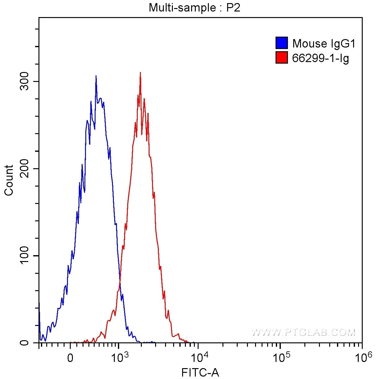 FC experiment of HeLa using 66299-1-Ig