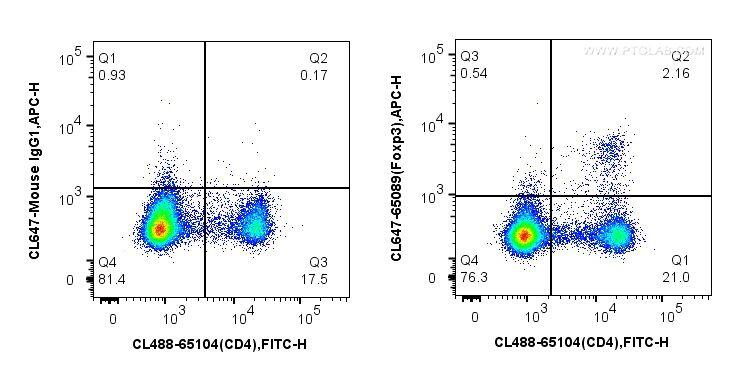 1X10^6 mouse splenocytes were surface stained with CoraLite488-conjugated Anti-Mouse CD4 (GK1.5) (CL488-65104, Clone: GK1.5) and then fixed with 1X Transcription Factor Fix/Perm buffer (PF00011-A) and permeabilized with 1X Flow Cytometry Perm Buffer (PF00011-C). Cells were then stained with CoraLite647-conjugated mouse IgG1 isotype control or 5 ul CoraLite647-conjugated Anti-Mouse Foxp3 (CL647-65089, Clone: 3G3).<br>