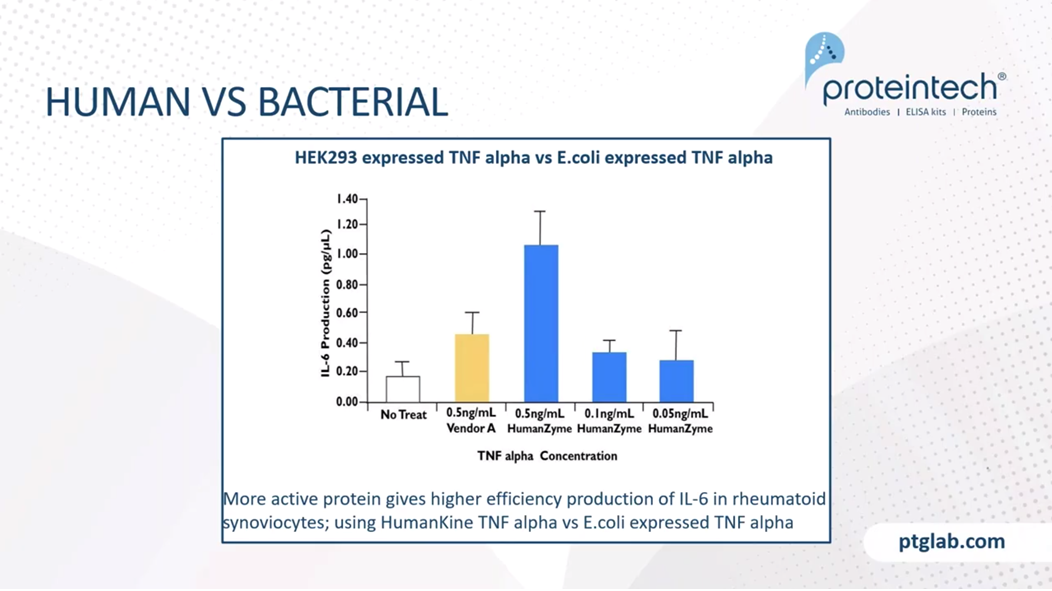 HEK293 expressed TNF alpha vs E.coli expressed TNF alpha.