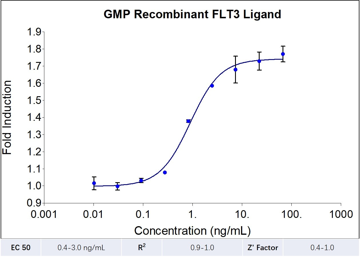 GMP-grade recombinant human FLT3 Ligand (HZ-1151-GMP) stimulates dose-dependent proliferation of the human acute myeloid leukemia cell line (OCI-AML5). Viable cell number was quantitiatively assessed by PrestoBlue Cell Viability Reagent. OCI-AML5 cells were treated with increasing concentrations of recombinant human FLT3 Ligand for 72 hours.The EC50 was determined using a 4- parameter non-linear regression model. Activity determination was conducted in triplicate on a validated bioassay. The EC50 value ranges from 0.4-3 ng/mL.